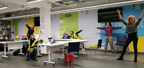 Edible London - Covid Operation - Maxime, Vishal, Sunny, Alberta, Chiara and Erin in the new admin area.
